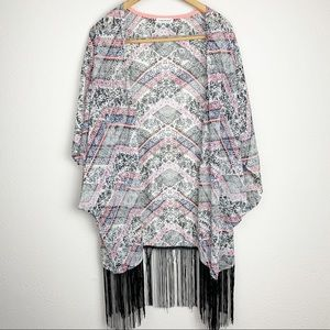 Maurices Multi Pattern Print Kimono